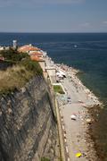 View of the beach Piran Istria Slovenia Europe Stock Photos