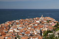 View of the historic centre with lighthouse Piran Istria Slovenia Europe Stock Photos
