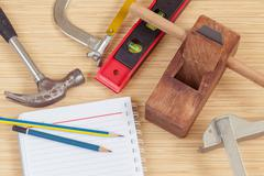 The carpenter tools and for woodwork. Stock Photos