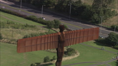 AERIAL United Kingdom-Angel Of The North Stock Footage