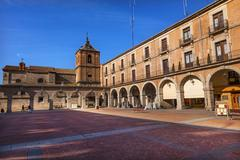 Plaza Mayor Avila Arches Cityscape Castile Spain Stock Photos
