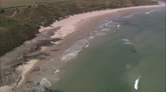 AERIAL United Kingdom-Coast Near Beadnell, Northumberland Stock Footage