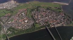 AERIAL United Kingdom-Berwick On Tweed Stock Footage