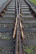Railway tracks Duisburg Nord Landscape Park a former steel works Ruhr Area Stock Photos