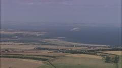 AERIAL United Kingdom-Bass Rock In Firth Of Forth Stock Footage