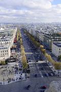 Stock Photo of Views of La Defense and the Avenue des ChampsElysees the Arc de Triomphe