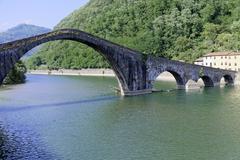 Ponte della Maddalena Borgo a Mozzano Lucca Tuscany Italy Europe - stock photo