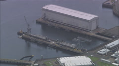 AERIAL United Kingdom-Faslane Naval Base (Nuclear Submarines) Stock Footage