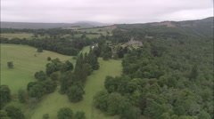 AERIAL United Kingdom-Drummond Castle And Great Formal Garden Stock Footage