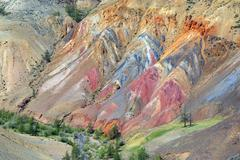 Colorful clay in the Altai Mountains - stock photo