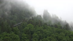 4k Hallstatt cable car in alps mountain forest with fog Stock Footage