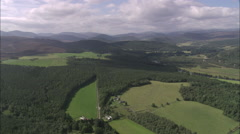 AERIAL United Kingdom-Dee Valley And River Near Balmoral Stock Footage