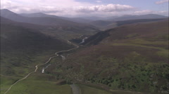 AERIAL United Kingdom-River Avon (North Of Braemar) Stock Footage