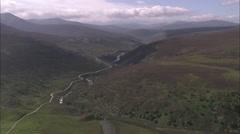 Stock Video Footage of AERIAL United Kingdom-River Avon (North Of Braemar)