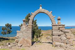Stock Photo of Archway Taquile Island Lake Titicaca Peru South America
