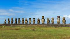 Row of Moai statues Rano Raraku Easter Island Chile South America Stock Photos