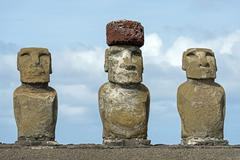 Three Moai statues Rano Raraku Easter Island Chile South America Stock Photos