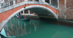 Tourists Sailing in Gondola along the Water Canal in Venice, Italy Stock Footage