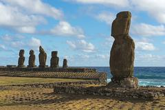 Moai UNESCO World Heritage Site Rapa Nui Easter Island Chile South America Stock Photos