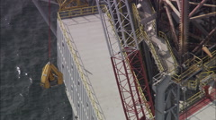 AERIAL United Kingdom-Oil Rig In Moray Firth Stock Footage