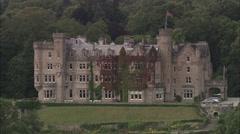 AERIAL United Kingdom-Skibo Castle Stock Footage