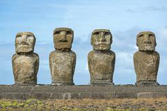 Group of Moai Rano Raraku Easter Island Chile South America Stock Photos