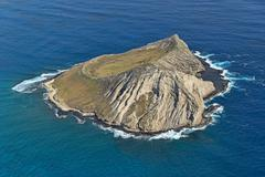 Aerial view Manana Island or Rabbit Island State Seabird Sanctuary bird - stock photo