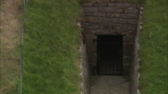 AERIAL United Kingdom-Maes Howe Burial Chamber Stock Footage