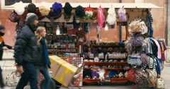 People Passing by Souvenir Stand in Venice, Italy Stock Footage