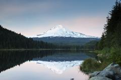 Stock Photo of Trillium Lake with Mount Hood Government Camp Oregon United States North America