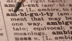 Ambiguity - Fake dictionary definition of the word with pencil underline Stock Footage