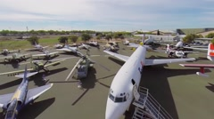 Lot of military and civil planes exhibited in Aerospace Museum - stock footage