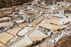 Salines in the Sacred Valley of the Incas on the Urubamba near Maras Peru South - stock photo