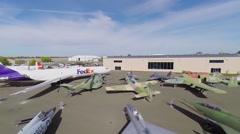Outdoor exhibition in Aerospace Museum of California Stock Footage