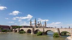 Medieval bridge in Zaragoza, Spain Stock Footage