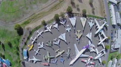 Military and civil air vehicles exhibited in Aerospace Museum Stock Footage