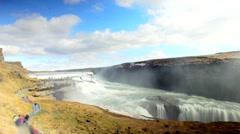 Waterfall Gulfoss in Iceland (Golden Waterfall) Stock Footage