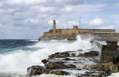 Lighthouse Castillo de los Tres Reyes del Morro Malecon Centro Habana Havana - stock photo