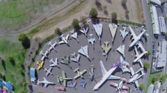 Stock Video Footage of Civil and military air vehicles exhibited in Aerospace Museum