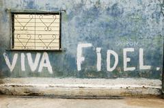 Stock Photo of Viva Fidel lettering on a wall historic centre La Habana Vieja Havana Ciudad de