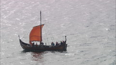 AERIAL United Kingdom-Re-Created Viking Longship (Middle Of Lynn Of Lorn) Stock Footage