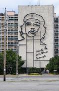 Stock Photo of Portrait of Che Guevara on a wall of the Ministry of the Interior in Revolution