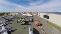Lot of different military planes exhibited in Aerospace Museum - stock footage