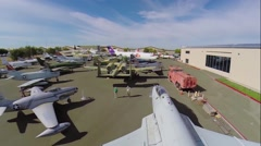 Many different civil and military air vehicles exhibited Stock Footage