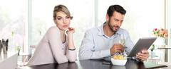 Stock Photo of relationship problems, woman disappointed, man indifference,