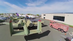 Many different military aircraft exhibited in Aerospace Museum - stock footage
