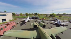 Air vehicles exhibits in Aerospace Museum of California. - stock footage