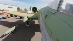 Turbine of plane exhibit in Aerospace Museum of California. Stock Footage