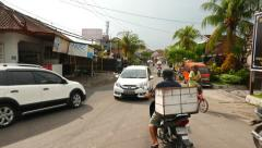 Stock Video Footage of Mixed traffic mess, road intersection, balinese street