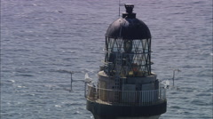 AERIAL United Kingdom-Dubh Artach Lighthouse, West Of Colonsay Stock Footage